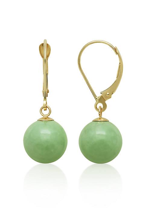 Belk & Co. 14k Yellow Gold Jade Earrings