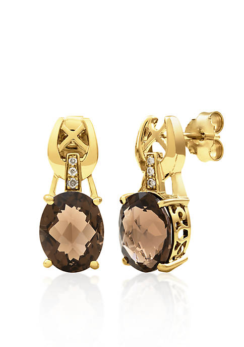 14k Yellow Gold Smokey Quartz Earrings