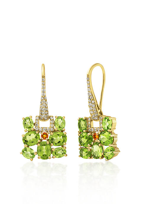 14k Yellow Gold Peridot and Citrine Earrings
