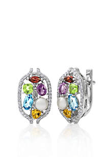14k White Gold Multi Gemstone and Freswater Pearl Earrings