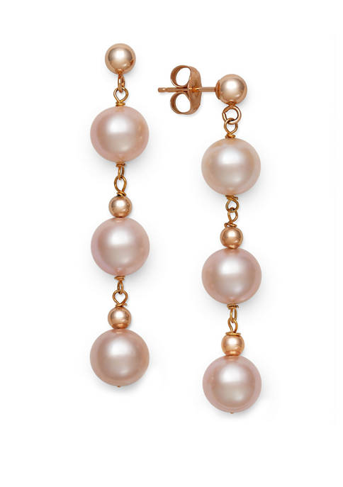 Quality Natural Pink Cultured Freshwater Pearl Drop Earrings in Rose Gold