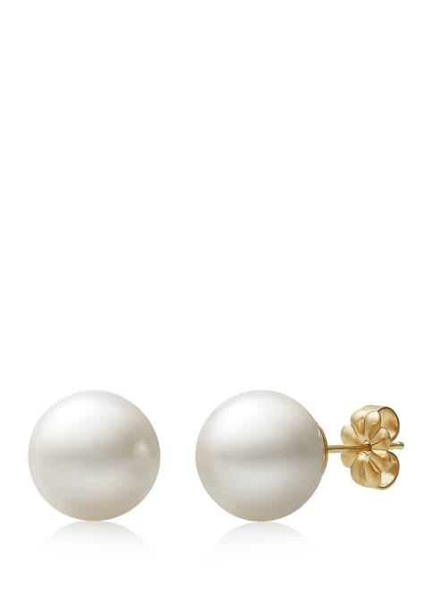 10-11 Millimeter Cultured Freshwater Pearl Stud Earrings in 14K Yellow Gold