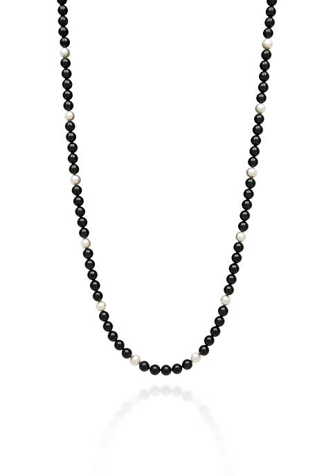 Onyx and Freshwater Pearl Necklace