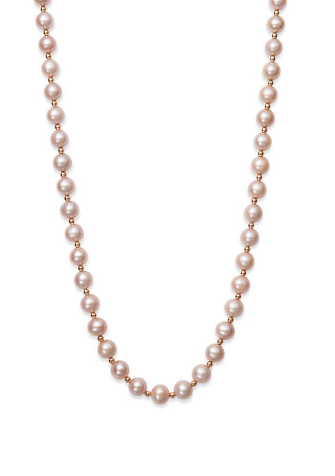 Natural Pink Cultured Freshwater Pearl and Bead Strand Necklace in 14K Rose Gold