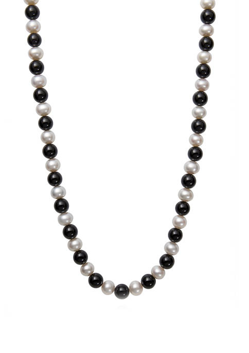8-9 Millimeter Cultured Freshwater Pearl and 8 Millimeter Natural Black Onyx 18 Inch Necklace in 14K Yellow Gold