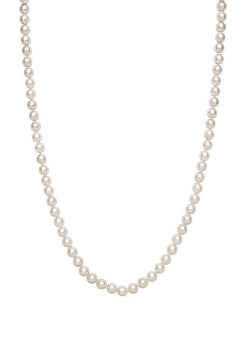 6 Millimeter AA Quality Akoya Cultured Pearl 16 inch Necklace with 14KT Yellow Gold Clasp