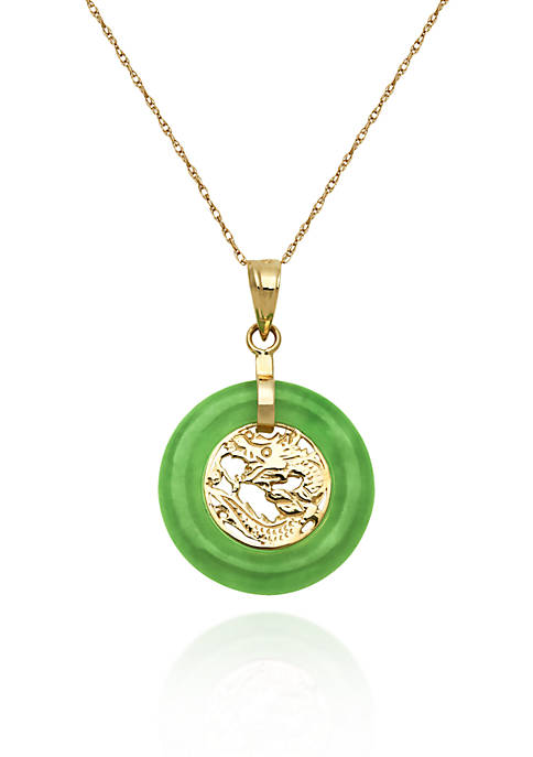 10k Yellow Gold Jade Dragon Pendant