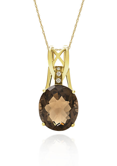 14k Yellow Gold Smokey Quartz Pendant