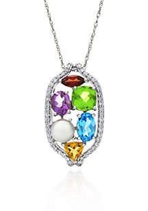 14k White Gold Gemstone and Freshwater Pearl Pendant