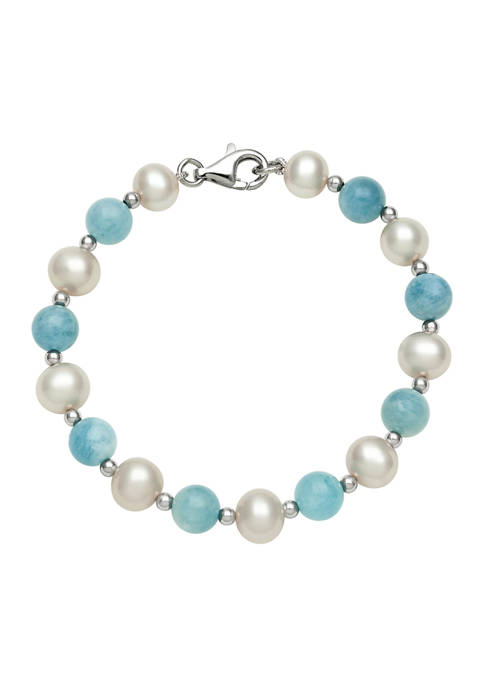 Cultured Freshwater Pearl and Milky Aquamarine Bracelet in Sterling Silver