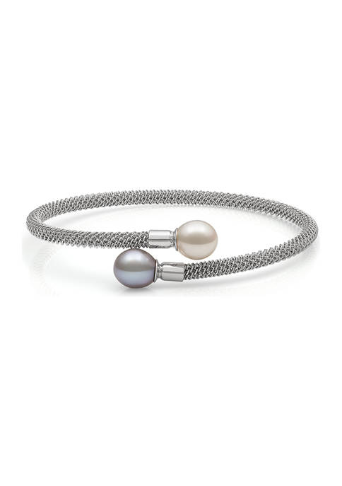 White and Gray Cultured Freshwater Pearl Sterling Silver Mesh Cuff Bracelet
