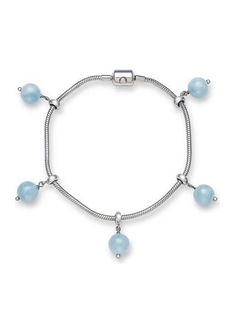 Adjustable Milky Aquamarine Charm Bracelet in Sterling Silver
