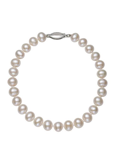 5-6 Millimeter Cultured Freshwater Pearl 7.5 inch Bracelet in Sterling Silver