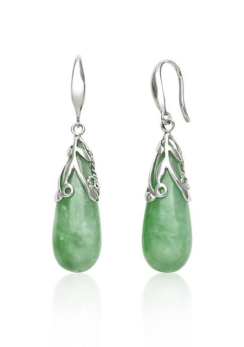 Sterling Silver Jade Drop Earrings