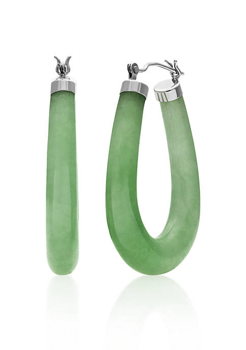Belk & Co. Sterling Silver Jade Hoop Earrings