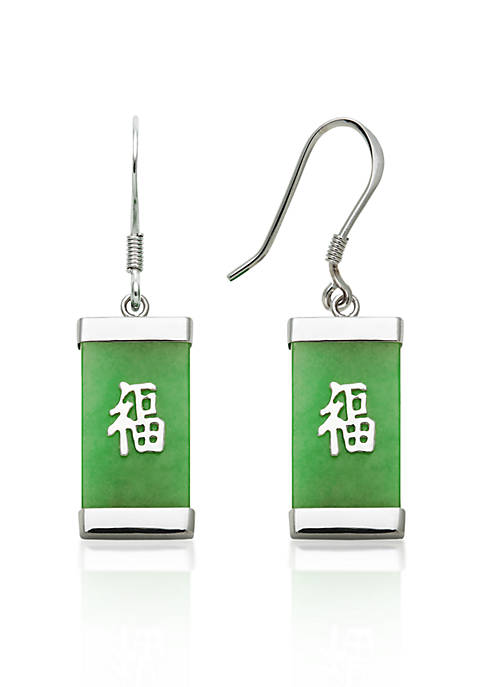 Sterling Silver Rectangle Jade Earrings