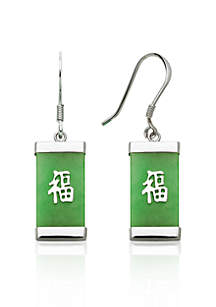 Sterling Silver Rectangle Jade Earrings