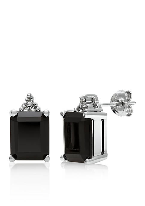 Sterling Silver Onyx and White Topaz Earrings