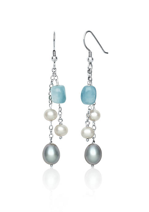Sterling Silver Milky Aquamarine and Freshwater Pearl Earrings
