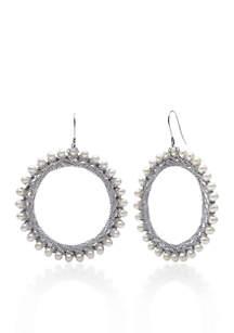Sterling Silver Freshwater Circle Hoop Earrings