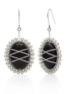 Sterling Silver Black Onyx and Freshwater Pearl Earrings