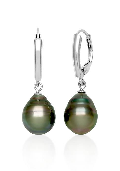 Sterling Silver Tahitian Black Pearl Earrings