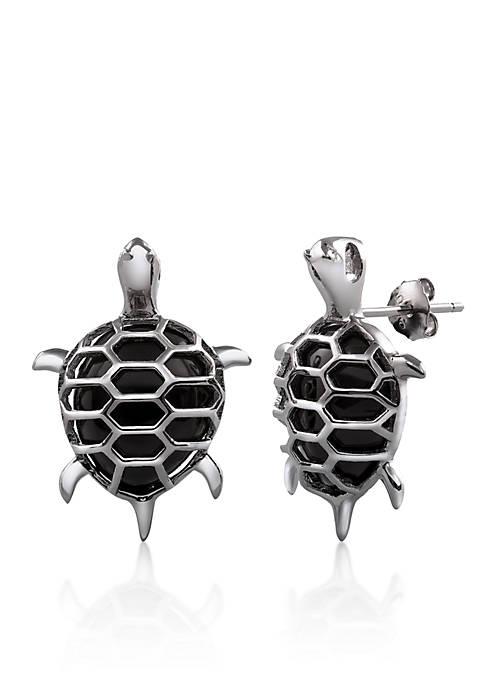 Belk & Co. Sterling Silver Onyx Turtle Earrings