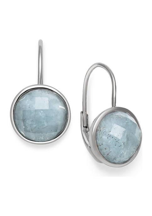 Faceted Milky Aquamarine Leverback Earrings in Sterling Silver