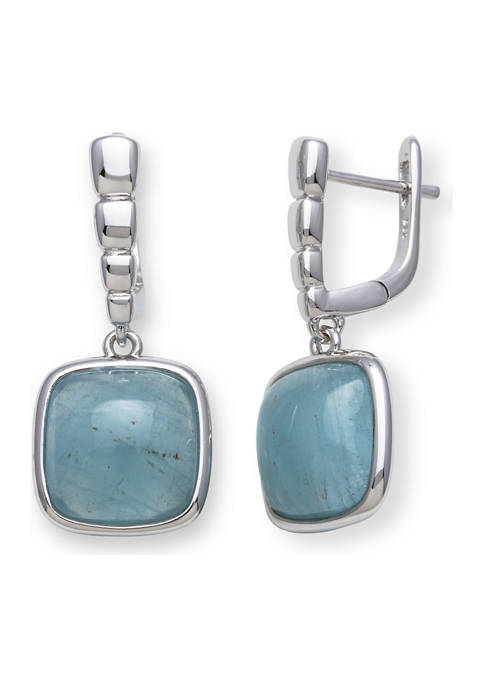 Milky Aquamarine Square-Shaped Drop Earrings in Sterling Silver