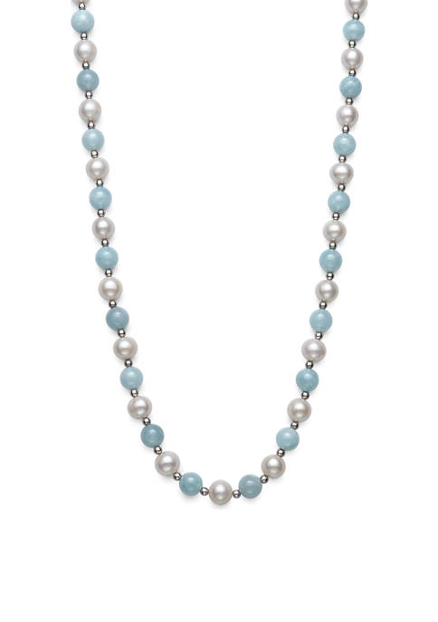 Cultured Freshwater Pearl and Milky Aquamarine Necklace in Sterling Silver