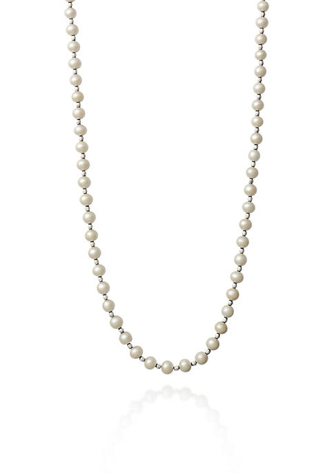Sterling Silver Freshwater Pearl and Beaded Necklace