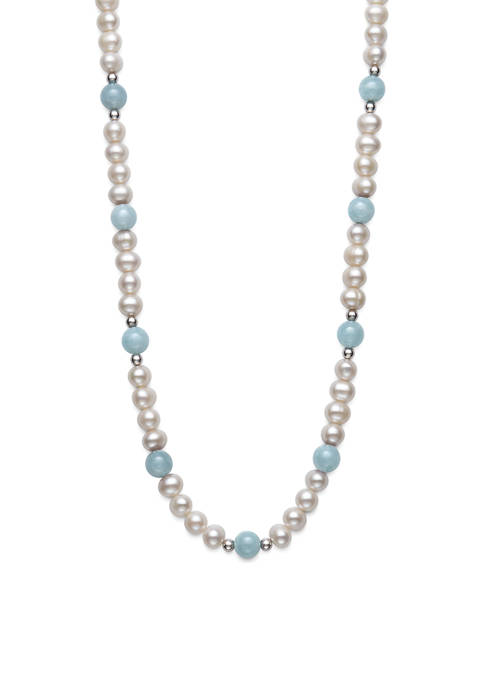 Milky Aquamarine and Cultured Freshwater Pearl 36-Inch Necklace