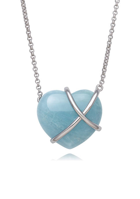 Milky Aquamarine Heart-Shaped Necklace in Sterling Silver