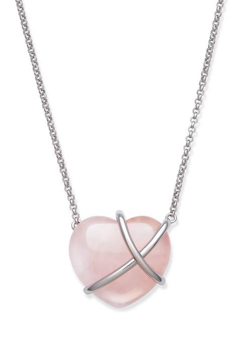Rose Quartz Necklace in Sterling Silver