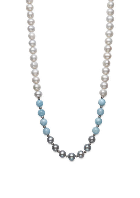 White and Gray Cultured Freshwater Pearl and Milky Aquamarine Necklace in Sterling Silver