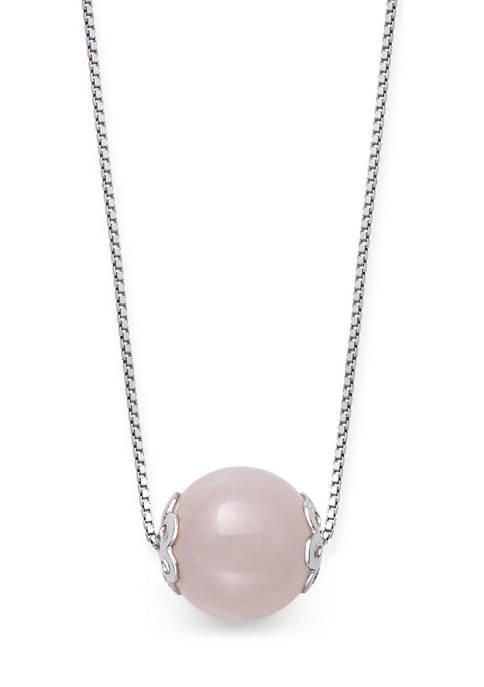 Rose Quartz Slide Necklace in Sterling Silver