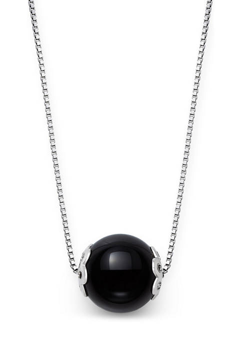 Onyx Slide Necklace in Sterling Silver