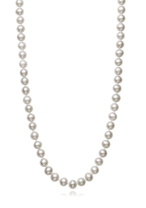 5-6 Millimeter Cultured Freshwater Pearl 18 Inch Strand Necklace in Sterling Silver