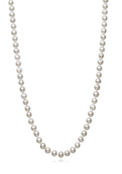 5-6 Millimeter Cultured Freshwater Pearl 24 Inch Strand Necklace in Sterling Silver