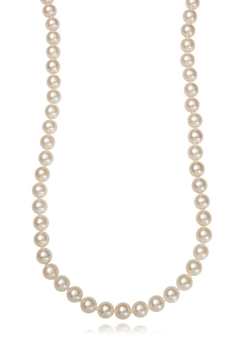 6-7 Millimeter Cultured Freshwater Pearl 24 Inch Strand Necklace in Sterling Silver