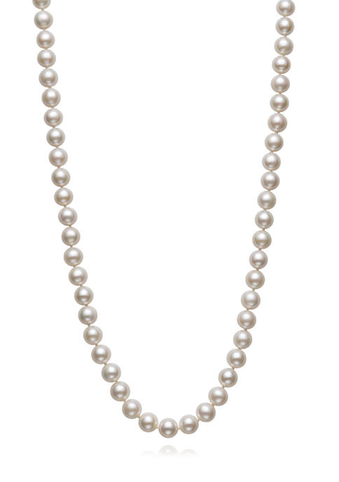 7.5-8.5 Millimeter Cultured Freshwater Pearl 20 Inch Strand Necklace in Sterling Silver