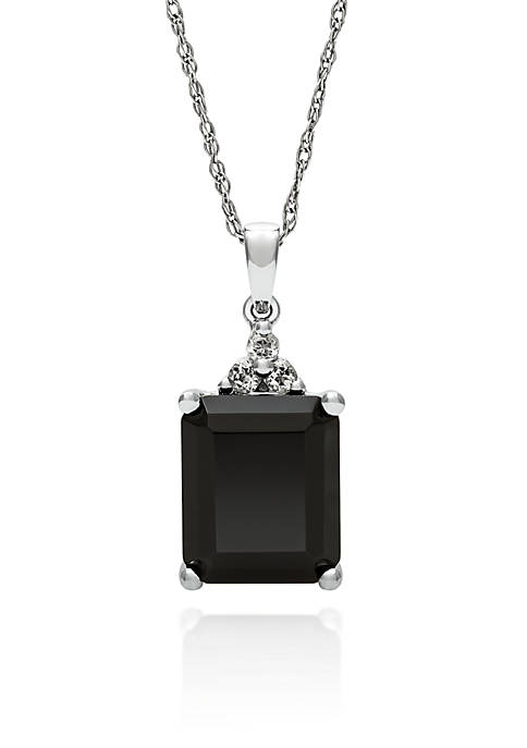 Sterling Silver Onyx and White Topaz Pendant