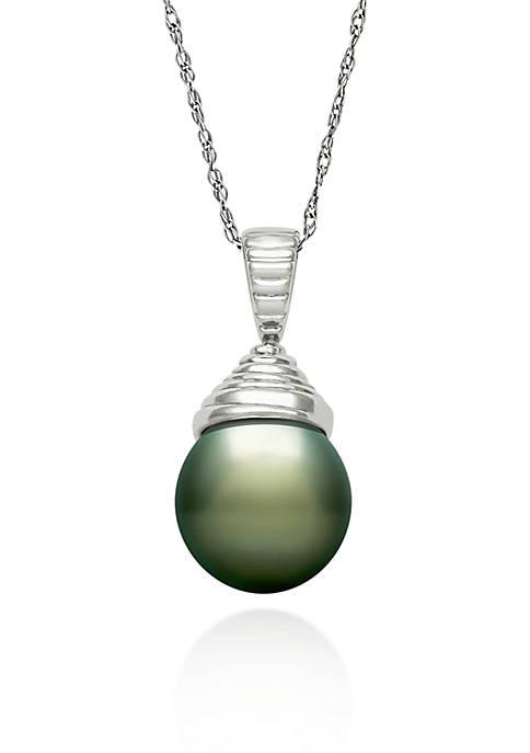 Sterling Silver Tahitian Black Pearl Pendant