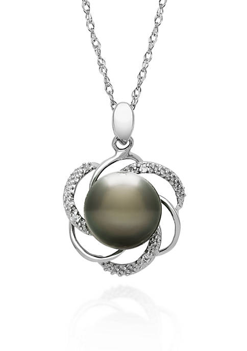 Sterling Silver Tahitian Black Pearl and Diamond Pendant