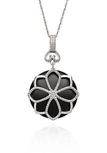 Sterling Silver Onyx Flower Pendant