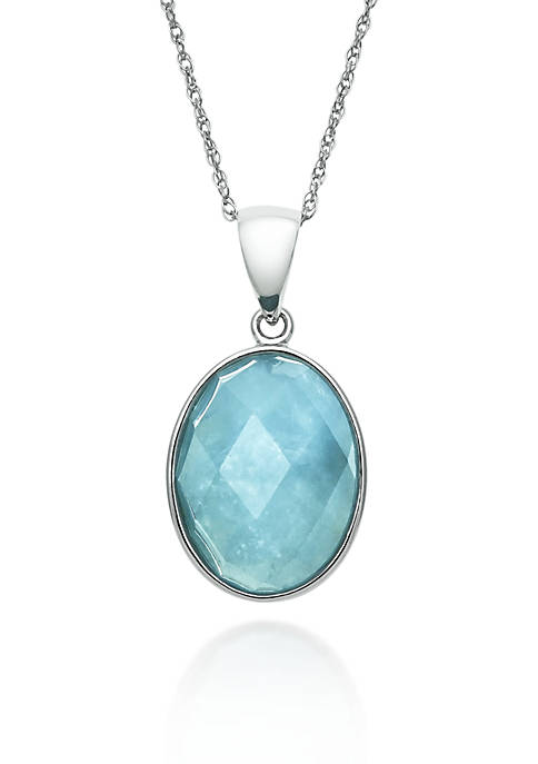 Sterling Silver Milky Aquamarine Pendant