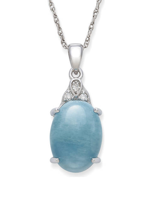 Milky Aquamarine and Diamond Accent Pendant  in Sterling Silver