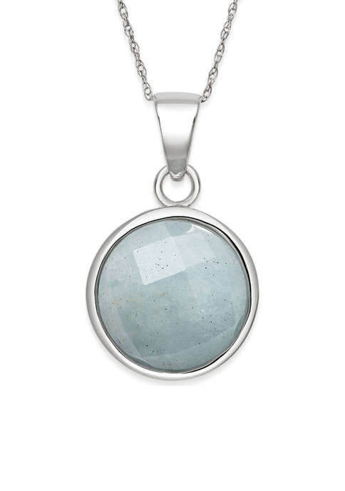 Faceted Milky Aquamarine Pendant in Sterling Silver