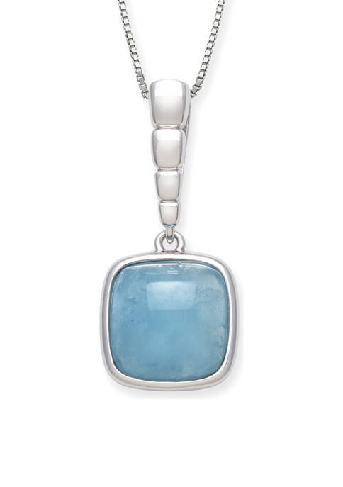 Milky Aquamarine Square-Shaped Pendant  in Sterling Silver
