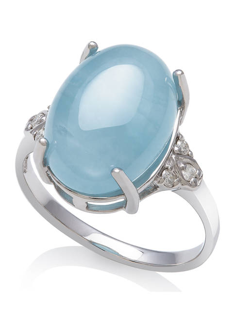 Milky Aquamarine and Diamond Accent Ring  in Sterling Silver